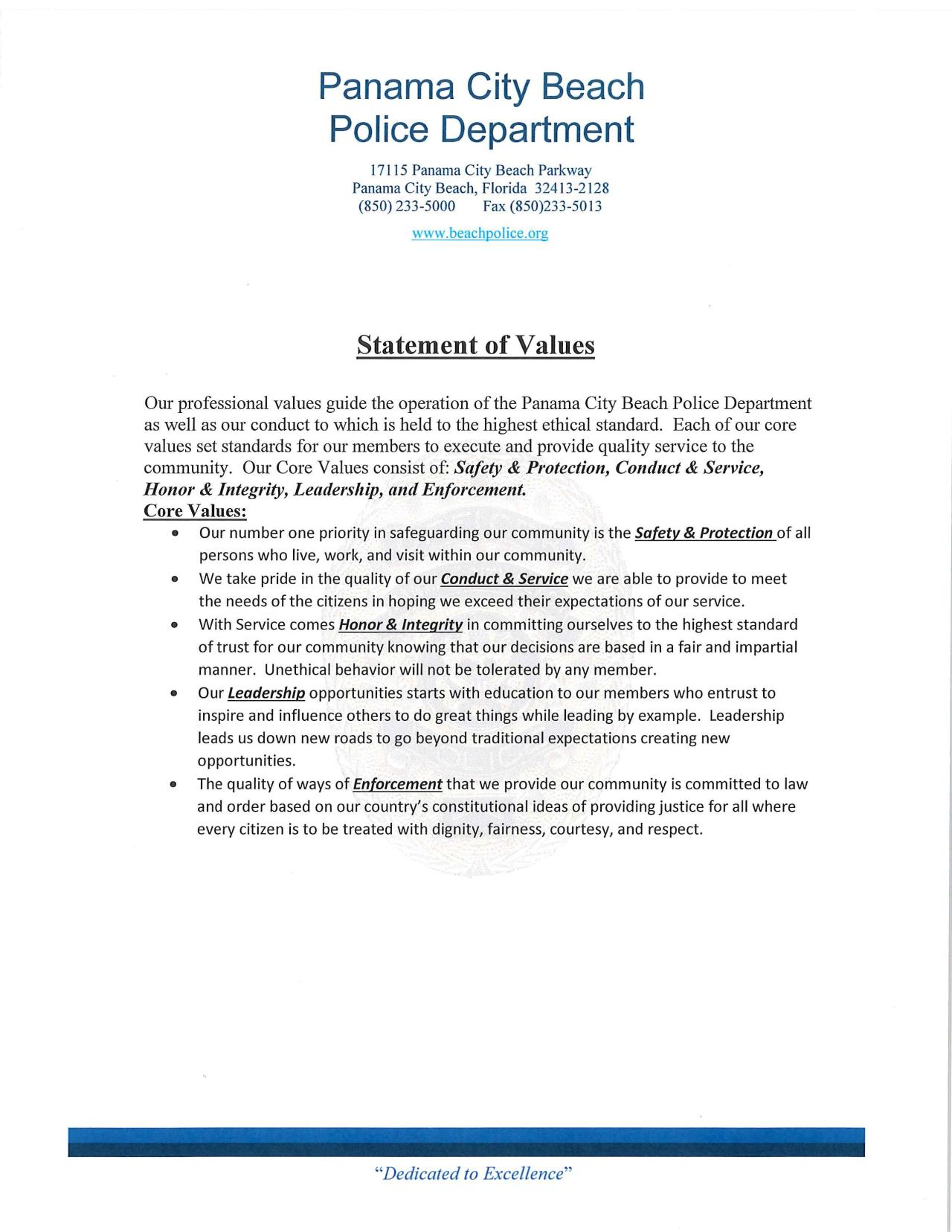PCBPD Statement of Values