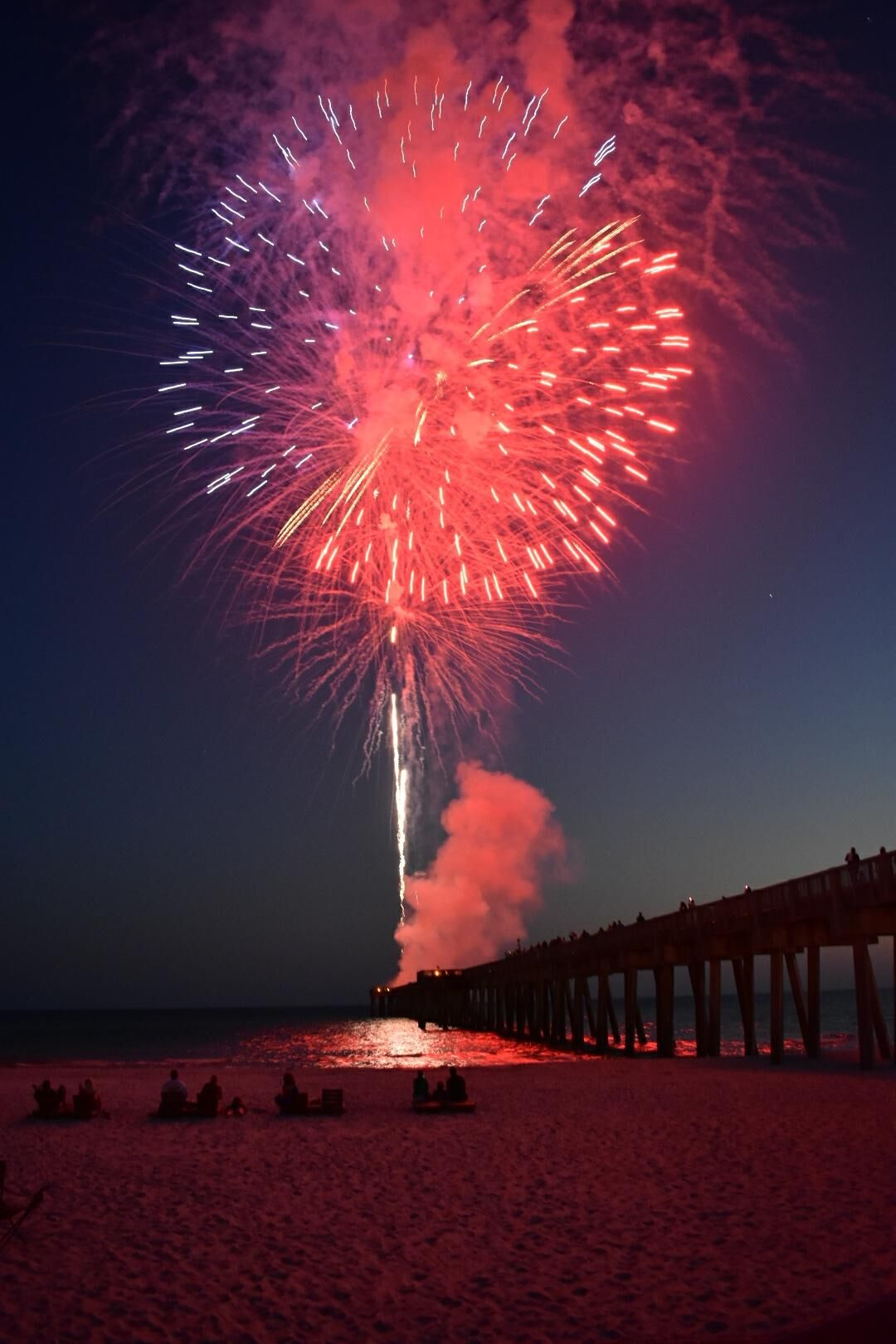 Fireworks on pier