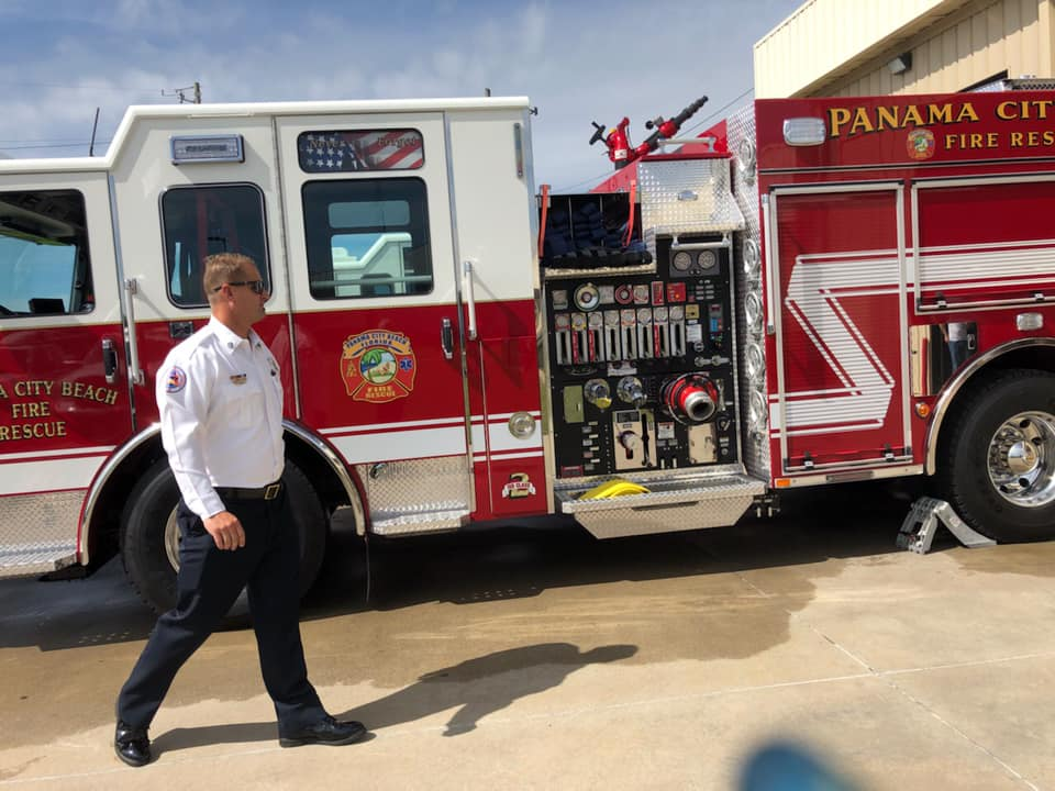 new fire engine with Capt. Robards